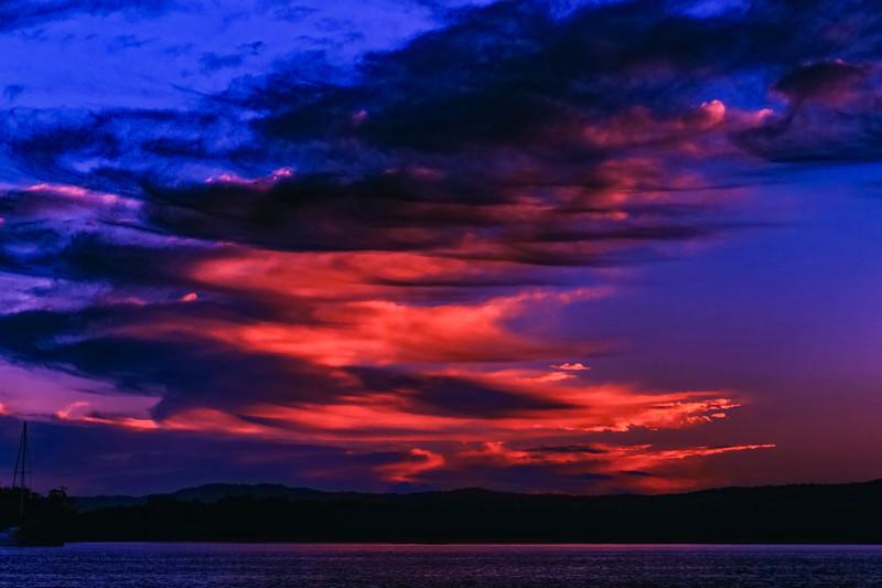 Vivid crimson cloud Sunrise. Australia
