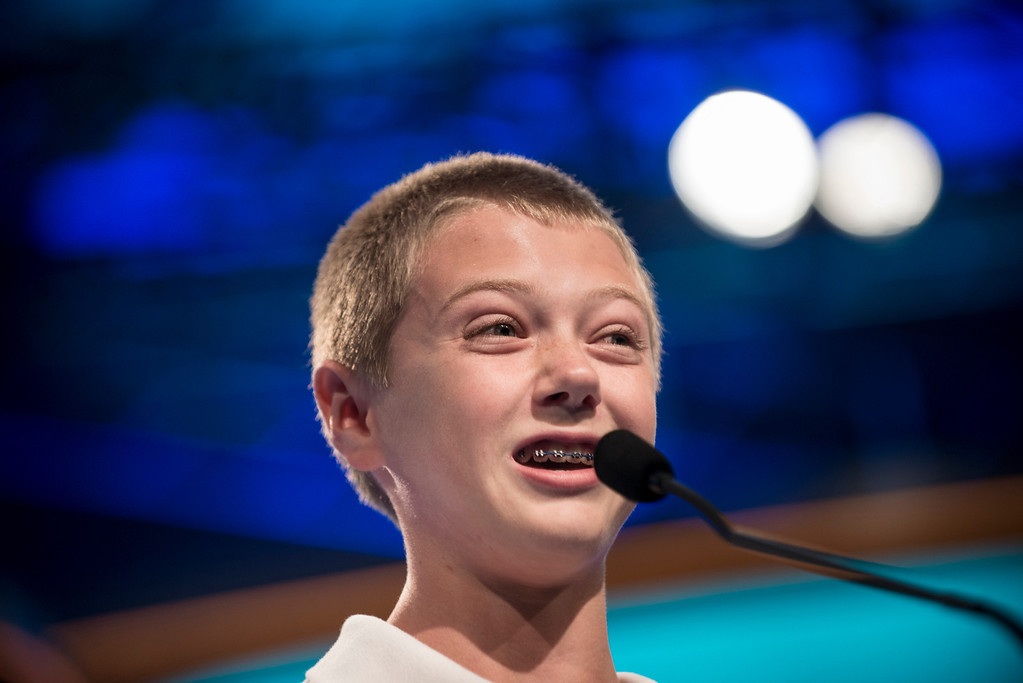 . Christopher O\'Connor, representing Arizona, spells a word during the semifinal round at the Scripps National Spelling Bee on May 30, 2013 in National Harbor, Maryland. BRENDAN SMIALOWSKI/AFP/Getty Images