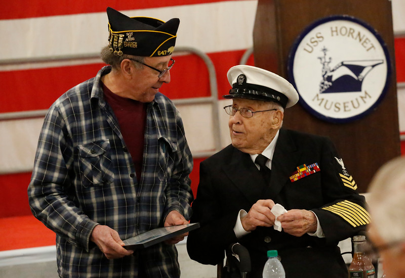 Robert Almquist, WW II veteran to visit the mast of the USS Oakland and the USS Hornet