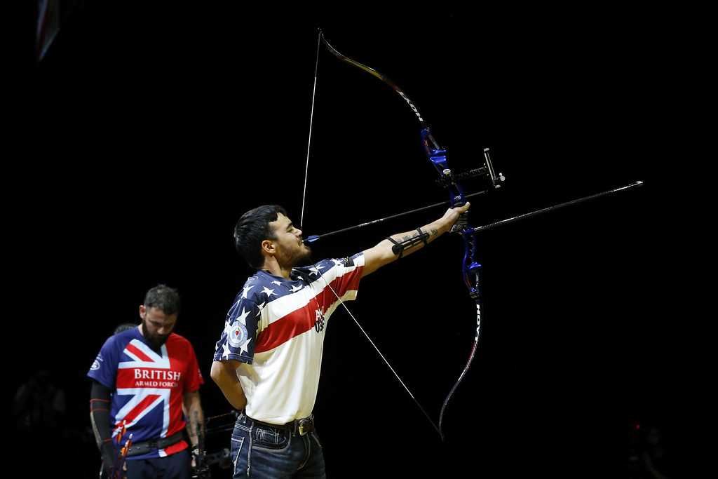 . Daniel Crane of the USA in action during a demonstration match at the archery at Olympic Park on September 12, 2014 in London, England. Photo:  (Photo by Steve Bardens/Getty Images for Invictus Games)