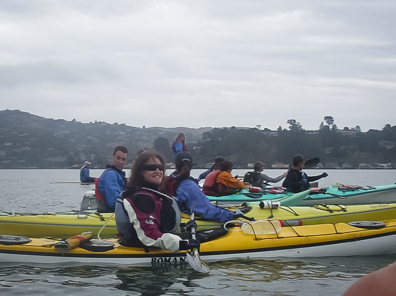 Cynthia ready for her fastest time ever around Angel Island - slightly over 2 hours.