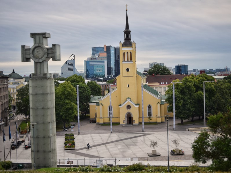 Tallinn, Estonia: Independence Square & St. John's Church (1863)
