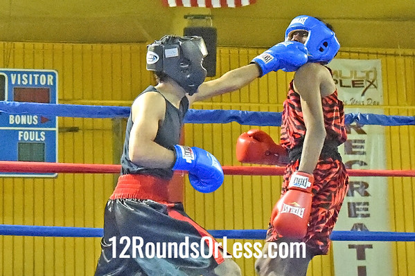Bout 9 Ramon Santana, Blue Gloves, Bola BC -vs- Ru'Keid Pittman, Red Gloves, Bob Davis BC, 123 lbs, Novice, 2 Min. Rds