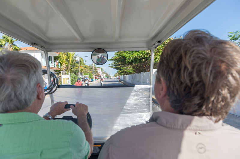 Option 2) Drive around the island in a golf cart.