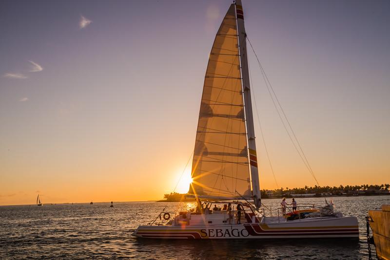 Sunset in Florida with catamaran