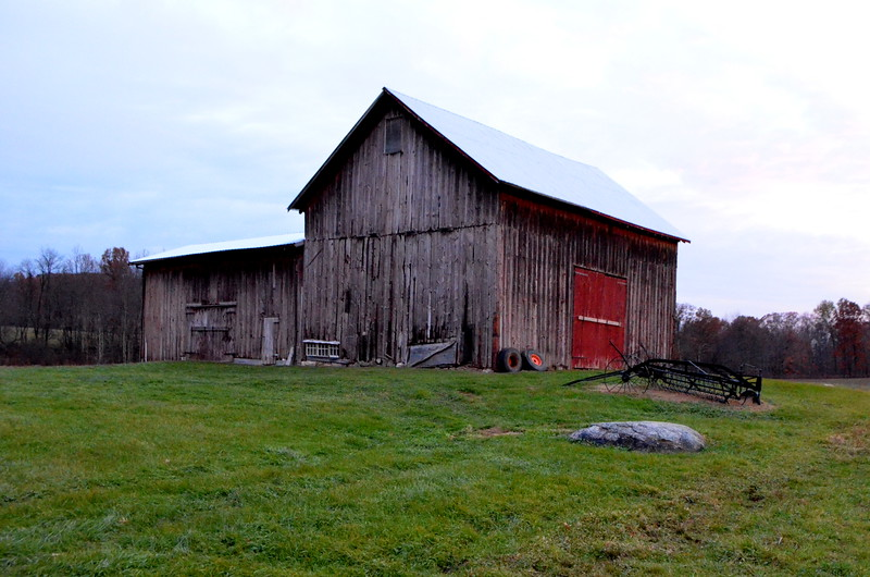 The old Olson family barn - structurally restored and with a new roof but with the same old exterior siding.