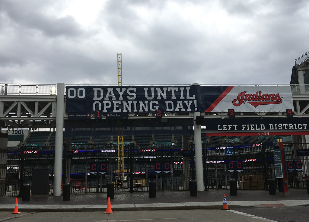. The scene outside Progressive Field five hours before the home opener on April 6, 2018. (Jeff Schudel - The News-Herald)