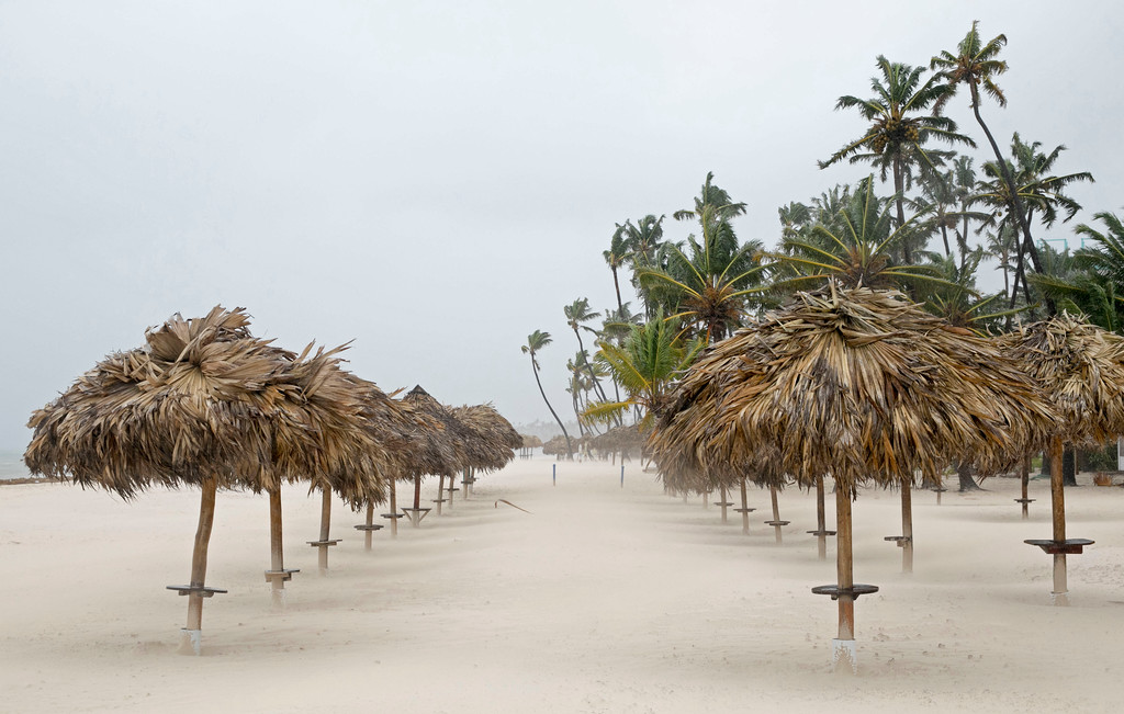 . The wind blows at Cortecito Beach as Hurricane Maria approaches Bavaro, Dominican Republic, Wednesday, Sept. 20, 2017. (AP Photo/Tatiana Fernandez)