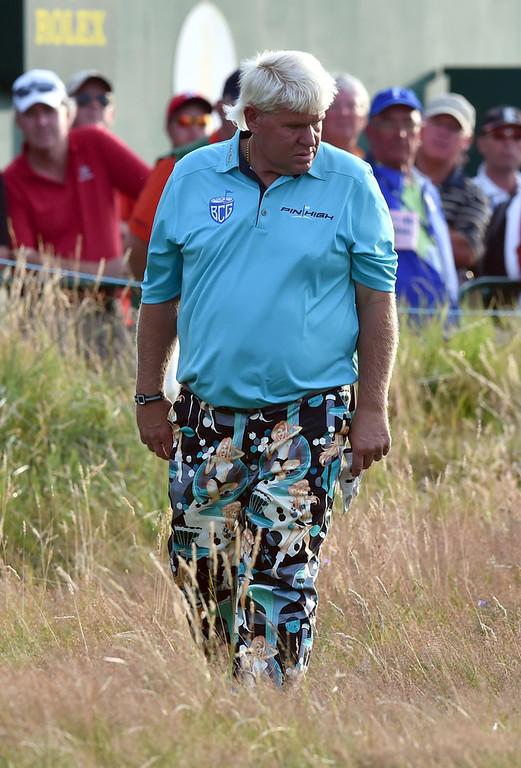 . US golfer John Daly in the rough on the 18th hole during his first round 77, on the opening day of the 2014 British Open Golf Championship at Royal Liverpool Golf Course in Hoylake, north west England on July 17, 2014. (PAUL ELLIS/AFP/Getty Images)