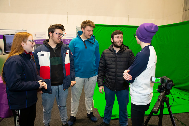 """22/11/2019. FREE TO USE IMAGE. Pictured at Waterford Institute of Technology (WIT) Open Day are Pictured are Leanne Phillips, Wesley Demaine, Sarunas Cecenikovas, James Demaine from Waterford with Killian Fitzgerald of WIT. Picture: Patrick Browne  Two open days taking place this week for school leavers and adult learners at WIT Arena  Families of south east Leaving Cert students wishing to get as much course and college-related research done as early as possible in sixth year can do so by attending the Waterford Institute of Technology (WIT) Saturday Open Day, 9am-2pm on 23 November 2019. The traditional schools' open day will run as usual on Friday, 22 November with a focus on information for secondary school students, students in further education colleges, and other CAO applicants, including mature students.  The Saturday Open Day – isn't just about courses for school leavers – it will have information available on the courses available across WIT's schools of Lifelong Learning, Humanities, Engineering, Science & Computing, Health Sciences, Business.  Adults interested in upskilling, or re-skilling can find out about Springboard courses, traditional evening courses as well as part-time and postgrad courses which are offered. WIT also runs specialist programmes for education, science, engineering and other professionals. The number of students studying WIT's part-time and online courses increased to 1650 in 2018, a 28% increase on 2017.  WIT Registrar Dr Derek O'Byrne says: """"A trend we are seeing at WIT Open Days is that students who may have enjoyed the Schools Open day with their friends and school groups, will return the following day with their parents or guardians.""""  Students whose schools are attending are encouraged to join their school group on the Friday. As school students are fully catered for at the Schools' Open Day on Friday, there will not be the same breadth of school leaver focused talks and events at the open day on Saturday. H"""