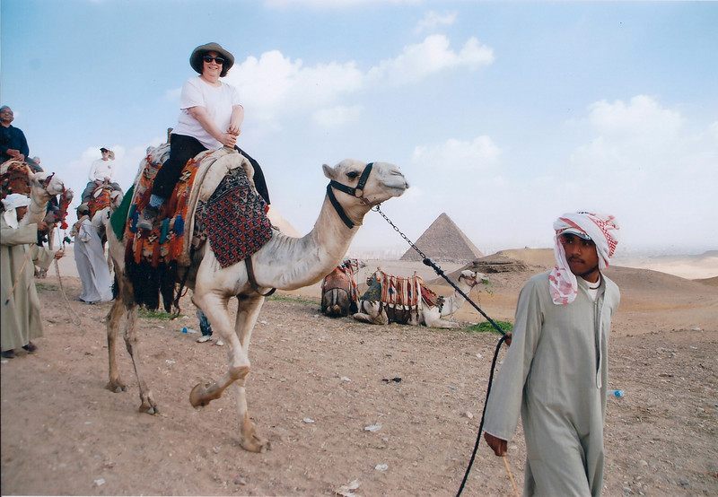 Renee Mirsky on a camel at the Giza Plateau (photo purchased from a local photographer)