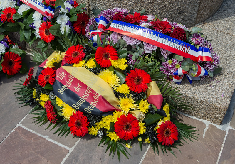 Flowers at the monument base.  This bouquet is from the Embassy of the Federal Republic of Germany.