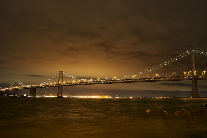 Photo of the Bay Bridge along the San Francisco Embarcadero before the rain began falling.
