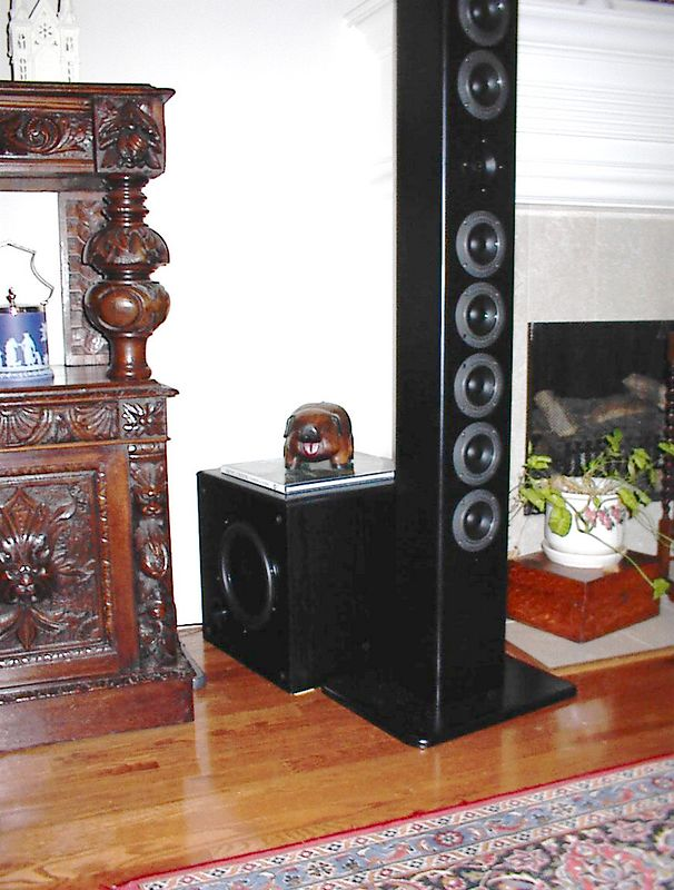 """The subwoofer behind the Anorexiarray is an older Advent sub whose foam surround 10"""" driver recently bit the dust. The replacement driver shown is a 10"""" Dayton sheilded DVC which fit into the 1.5 cu ft enclosure nicely in a sealed configuration. In room response is flat to about 25hz."""