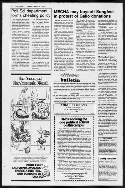 Daily Trojan, Vol. 68, No. 94, March 16, 1976