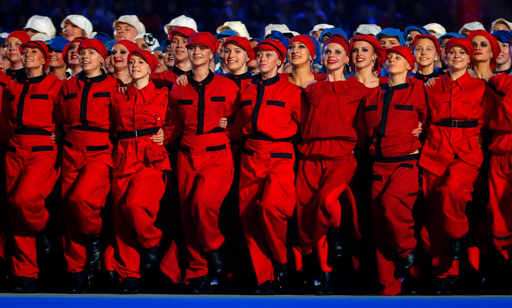. Actors perform at the Fisht Olympic stadium during the opening ceremony of the 2014 Winter Paralympics in Sochi, Russia, Friday, March 7, 2014.  (AP Photo/Dmitry Lovetsky)