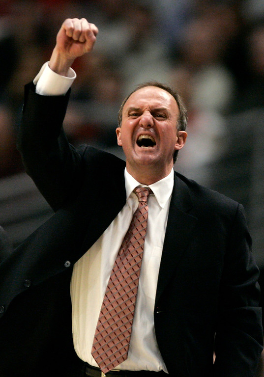 . Ohio State coach Thad Matta celebrates his team\'s 66-49 victory over Wisconsin in the Big Ten Tournament championship basketball game in Chicago, Sunday, March 11, 2007.  (AP Photo/Brian Kersey)