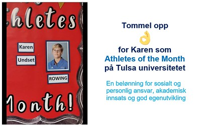 "Karen er ""Athlete of the month"""