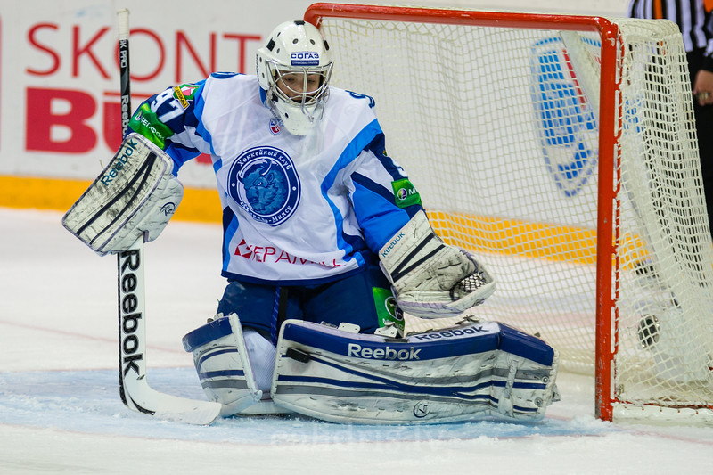 Goaltender of Dinamo Minsk Karnaukhov Mikhail (97) saves the goal