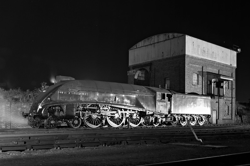 60009 quietly cools on the ash-coaling road BW
