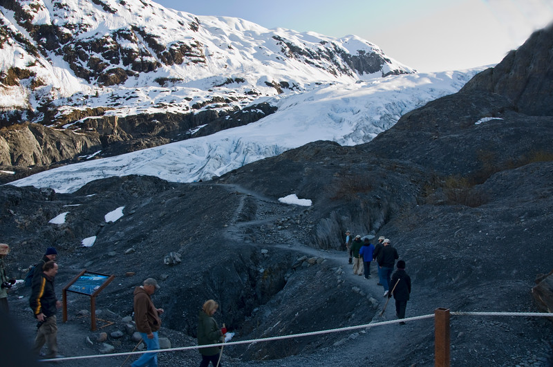 Exit Glacier has steadily receded over the years.  This is where it was just a couple of years ago.  The snow is Exit Glacier.