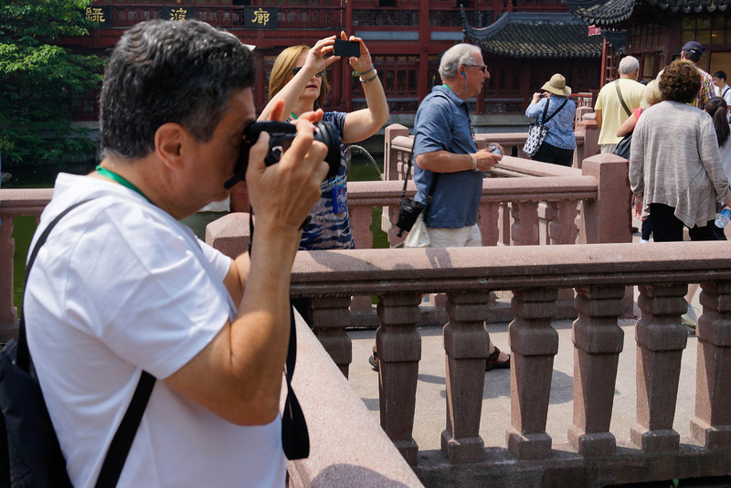 Vincente and Malu Picarelli taking pictures at Yu Garden