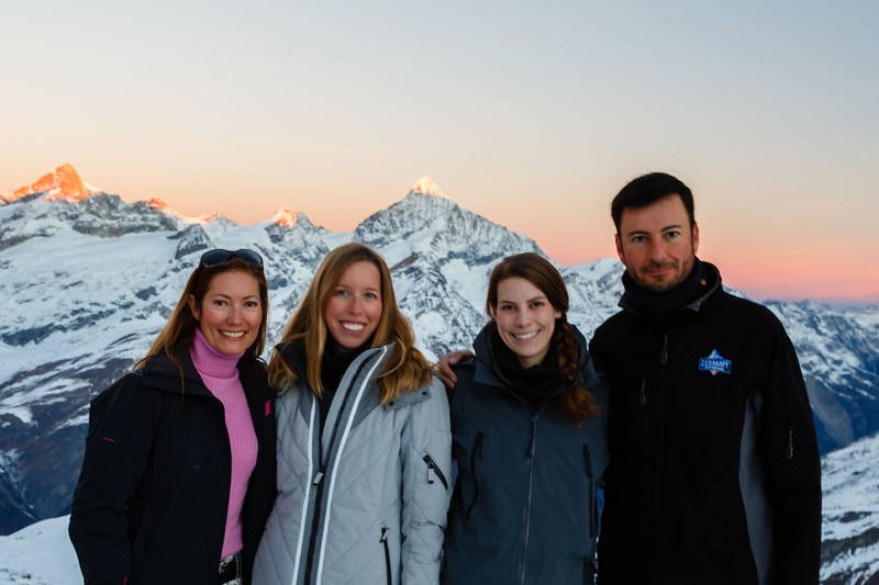 Ms. Brouillac, Ms. Valentino, Ms. Perry, and Mr. Schultz on the last day at Gornergrat