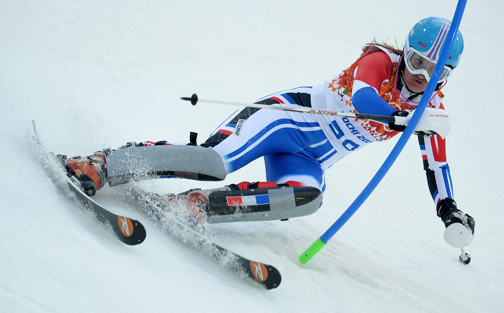 . Anemone Marmottan of France in action during the first run of the Women\'s Slalom race at the Rosa Khutor Alpine Center during the Sochi 2014 Olympic Games, Krasnaya Polyana, Russia, 21 February 2014.  EPA/VASSIL DONEV