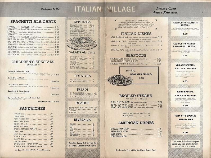 Italian Village Menu