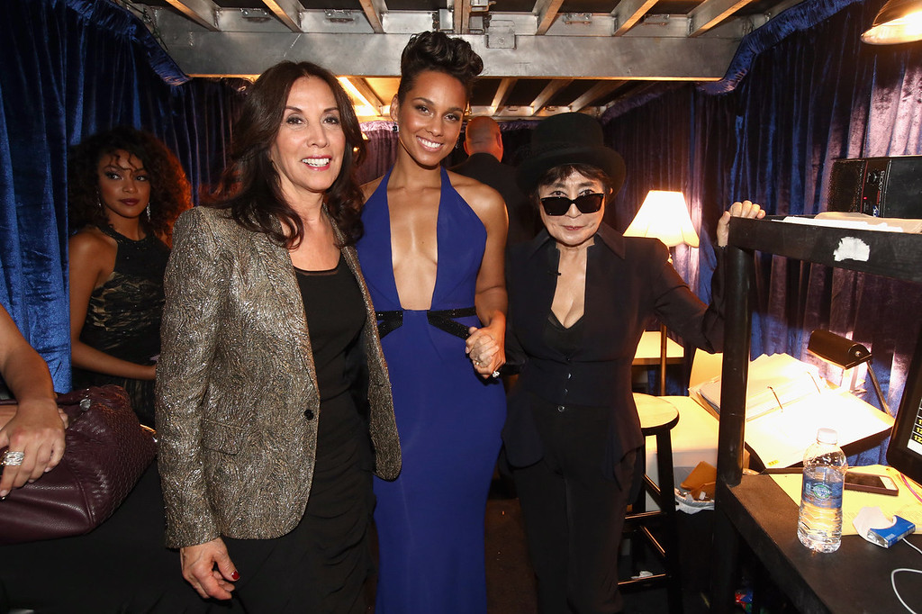 . (L-R) Olivia Harrison, singer Alicia Keys and musician Yoko Ono attend the 56th GRAMMY Awards at Staples Center on January 26, 2014 in Los Angeles, California.  (Photo by Christopher Polk/Getty Images)