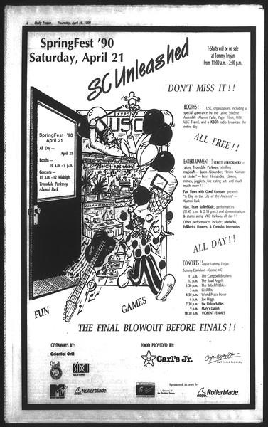 Daily Trojan, Vol. 111, No. 62, April 19, 1990