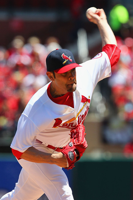 . Starter Jaime Garcia #54 of the St. Louis Cardinals pitches against the Colorado Rockies at Busch Stadium on May 12, 2013 in St. Louis, Missouri.  (Photo by Dilip Vishwanat/Getty Images)