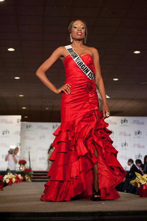 . Miss British Virgin Islands 2012 Abigail Hyndman walks the runway during the Welcome Event at Bally\'s in Las Vegas, Nevada December 6, 2012. The Miss Universe 2012 competition will be held on December 19. REUTERS/Valerie Macon/Miss Universe Organization L.P/Handout