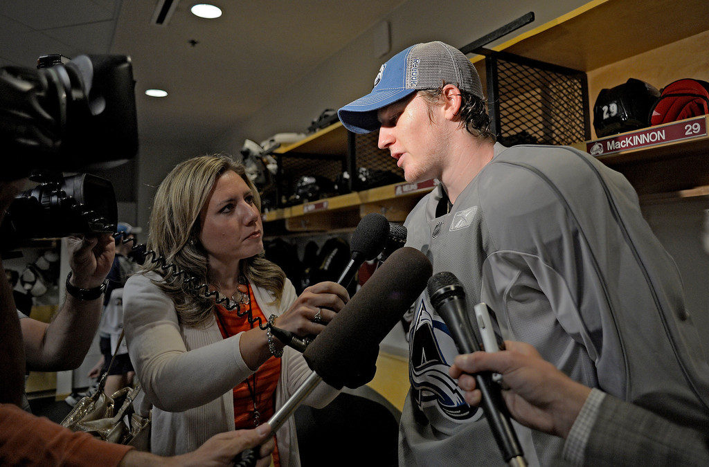 . Colorado Avalanche No. 1 draft pick Nathan MacKinnon talks with the media on the first day of Avalanche rookie camp September 8, 2013 at Family Sports. (Photo by John Leyba/The Denver Post)