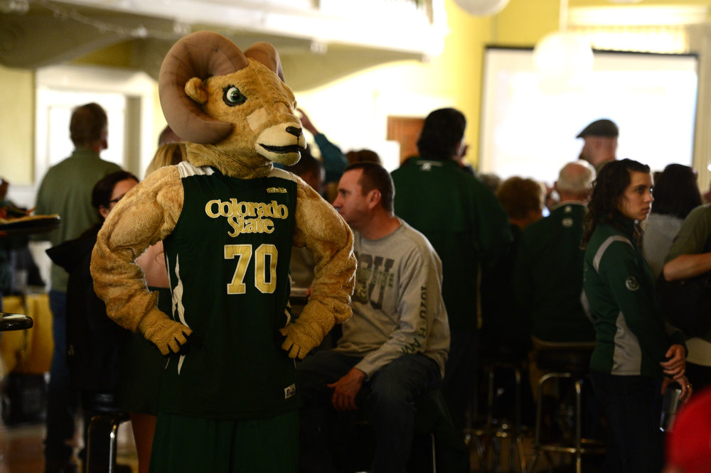 . Cam the Ram awaits CSU seeding during the NCAA tournament selection show. The Rams earned an eight seed and will play ninth-seeded Missouri in the second round. (Photo by AAron Ontiveroz/The Denver Post)