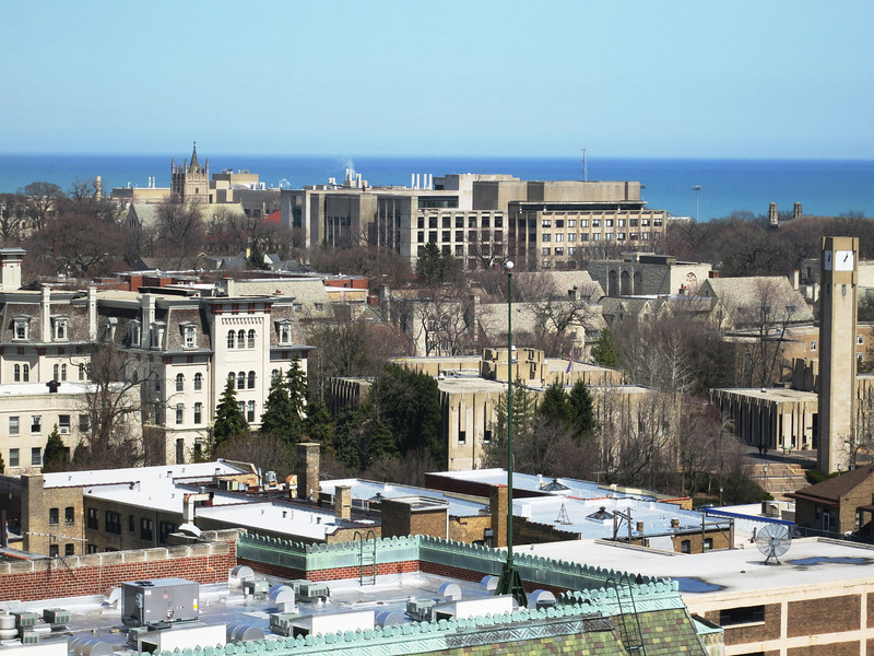17b-The Northwestern campus seen from above downtown Evanston