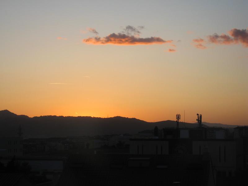 Sunset over Sant Joan Despí, a suburb of Barcelona