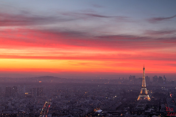 Night time view of Paris from Montparnasse Tower 1