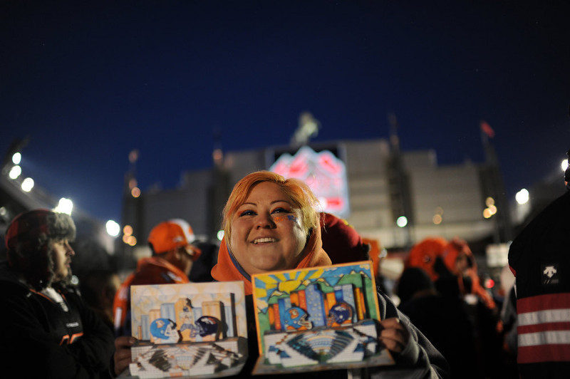 . Denver Broncos fan Rosemary Sanchez of Denver is in the United in Orange Pep Rally at Sports Authority Field at Mile High in Denver on Friday. Denver. CO, January 11, 2013.  Hyoung Chang, The Denver Post