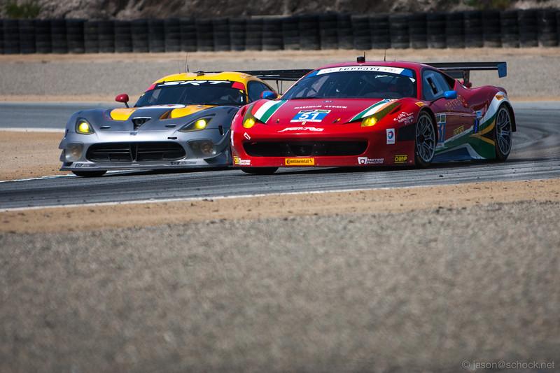 Tight racing between the factory SRT Viper and AF Corse Ferrari 458 Italia.