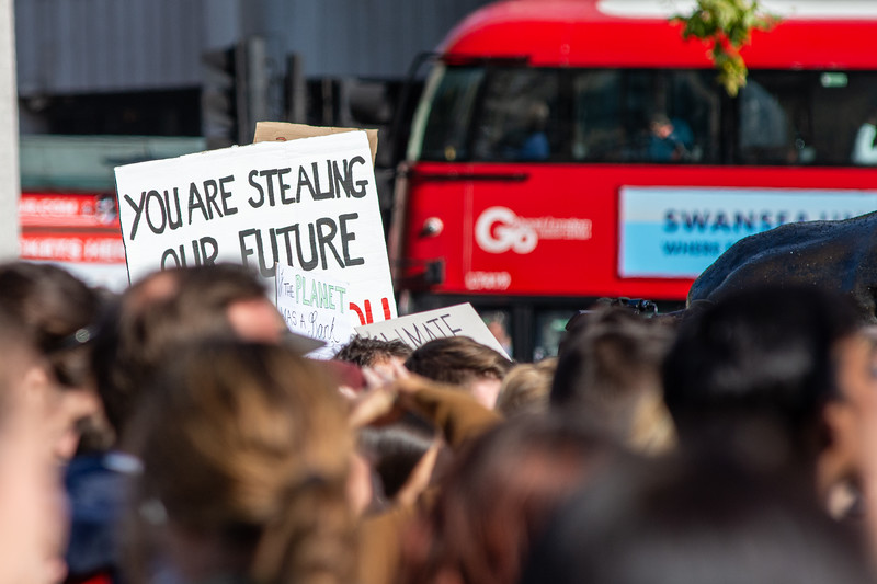 Fridays For The Future demonstration in Trafalgar Square