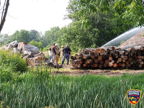 Mulch pile fire on July 20, 2014