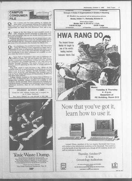 Daily Trojan, Vol. 107, No. 21, October 05, 1988