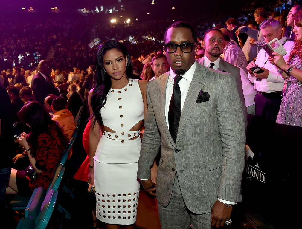 ". Model Cassie Ventura (L) and Sean ""Puff Daddy\"" Combs pose ringside at \""Mayweather VS Pacquiao\"" presented by SHOWTIME PPV And HBO PPV at MGM Grand Garden Arena on May 2, 2015 in Las Vegas, Nevada.  (Photo by Ethan Miller/Getty Images for SHOWTIME)"