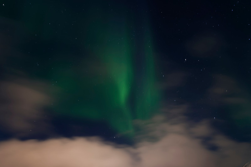 Aurora Borealis over Longyearbyen's night sky