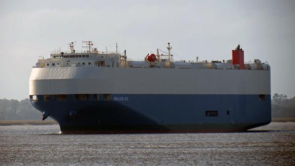 November 26:  Cargo ship leaving the Colonel's Island Terminal .  .  .
