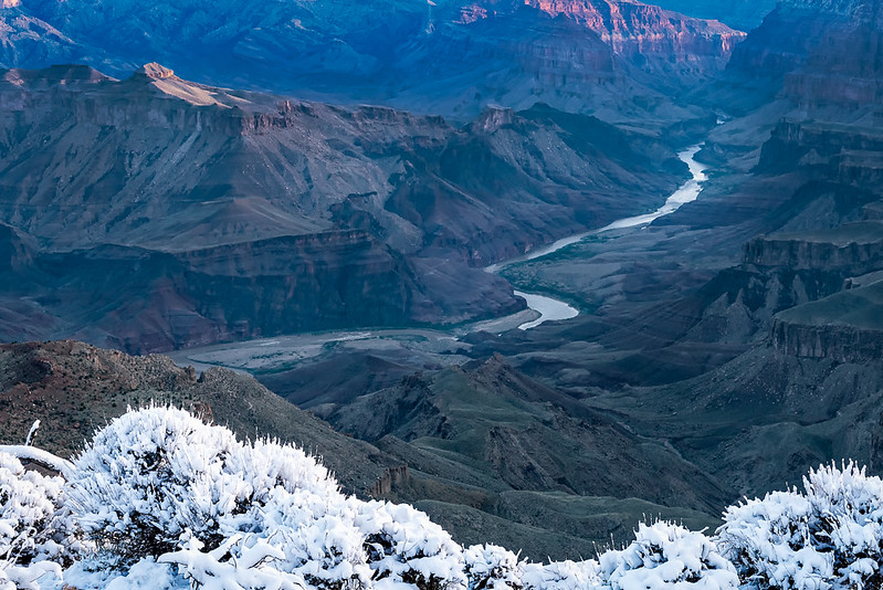 Sunrise Snow. Desert View, Grand Canyon.