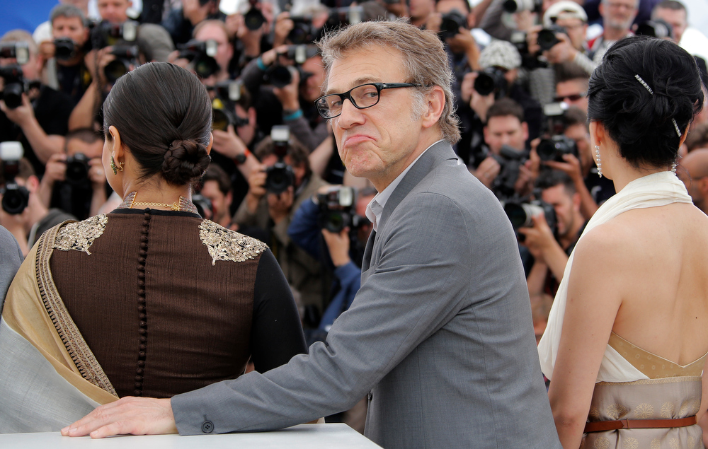 . Jury member Christoph Waltz poses for photographers during a photo call for the jury at the 66th international film festival, in Cannes, southern France, Wednesday, May 15, 2013. (AP Photo/Francois Mori)