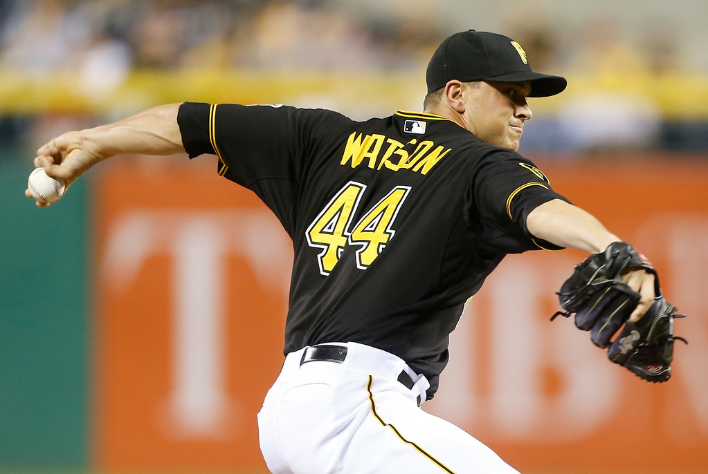 . Pittsburgh Pirates relief pitcher Tony Watson (44) throws in the eighth inning in the baseball game against the Detroit Tigerson Tuesday, Aug. 12, 2014, in Pittsburgh. (AP Photo/Keith Srakocic)