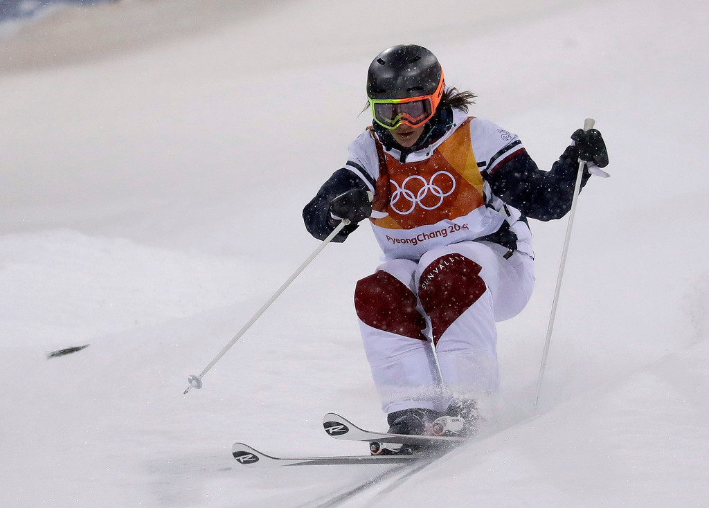 . Perrine Laffont, of France, runs the course during the women\'s moguls finals at Phoenix Snow Park at the 2018 Winter Olympics in Pyeongchang, South Korea, Sunday, Feb. 11, 2018. (AP Photo/Lee Jin-man)